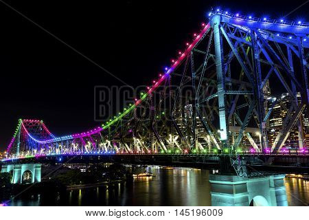 BRISBANE, AUSTRALIA: Story Bridge by Night -multi-coloured (Blue, Pink, Green, Orange, Purple), closeup