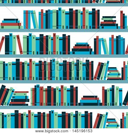 Seamless Pattern Book Shelf With Books. Vector.