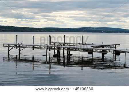 Lake Boat Dock on a Cloudy Summer Morning