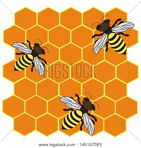 Vector illustration of logo,three striped bees.Isolated drawing consists of hard-working,yellow,striped,melliferous insects on a yellow background.Icon for health,honey, wax, propolis, pollen, nectar.