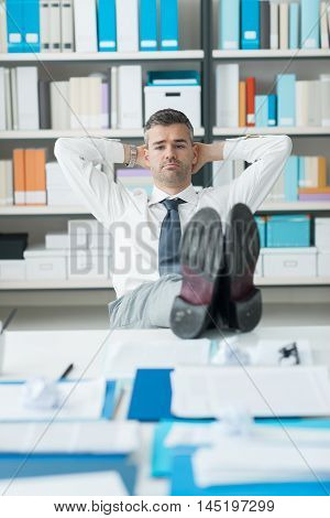 Lazy Businessman In His Office