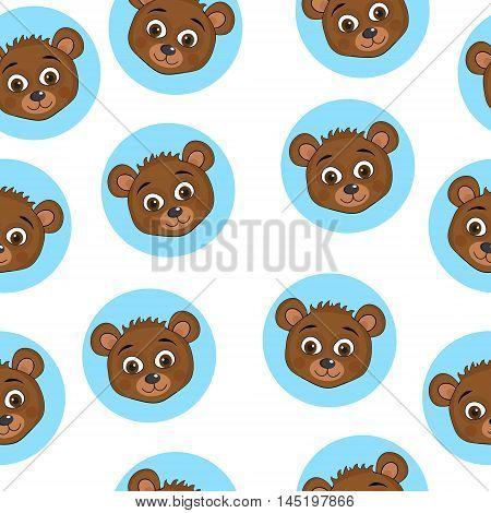 Cute baby teddy bear seamless texture. Teddy bear background wallpaper fabric. Vector illustration.