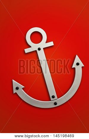 Stylized anchor symbol on a red background