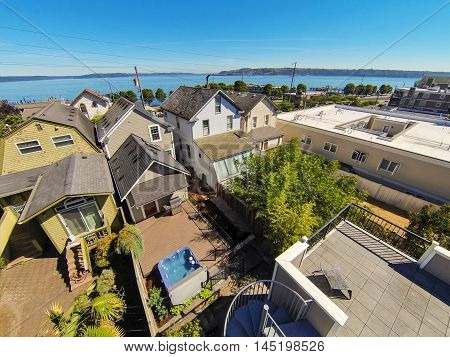 Panoramic View Of Residential Area And Scenic Bay In Tacoma
