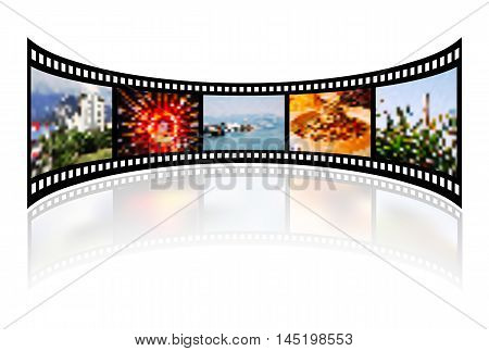 Film strip with reflection on white. Vector illustration