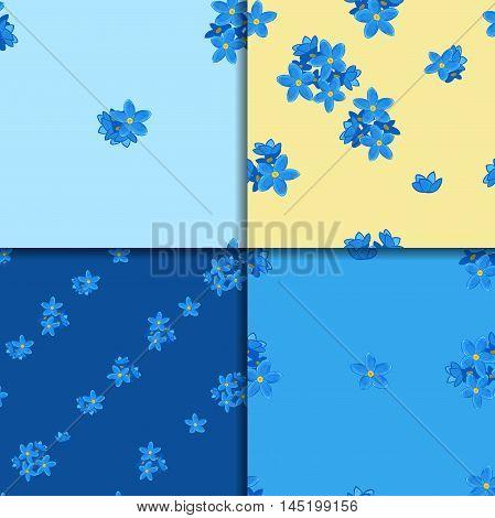 Floral seamless pattern set with forget-me-not. Four backgrounds with  forget me not flowers. Digital or wrapping paper