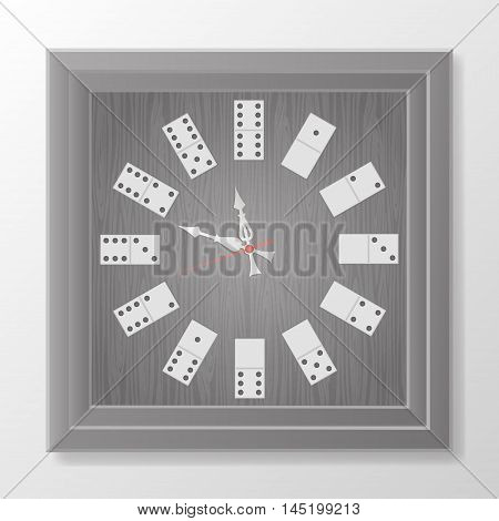 old wooden clock from the dominos. vector illustration