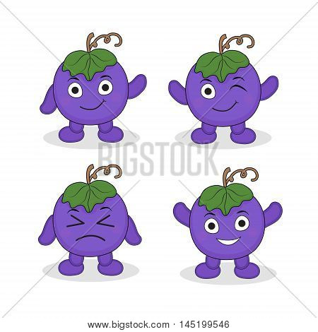 Cartoon mascot grapes grape character. Grapes with different emotions. Vector illustration