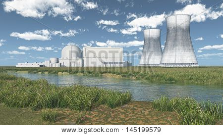 Computer generated 3D illustration with a nuclear power plant