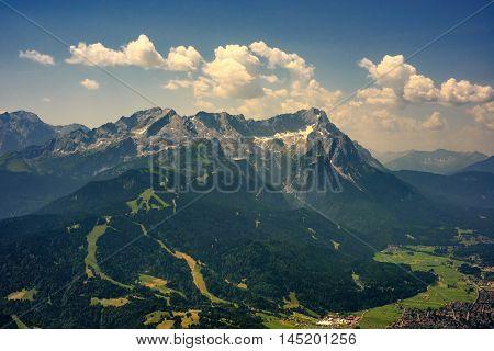 Beautiful View At Highest Mountain Peak Zugspitze And Alpspix With Garmisch Partenkirchen From Wank