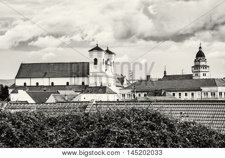 Jesuit church and Parish church of saint archangel Michael in Skalica Slovak republic. Place of worship. Cultural heritage. Black and white photo. Travel destination.