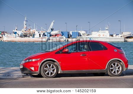 Red Honda Civic Car Stands Parked
