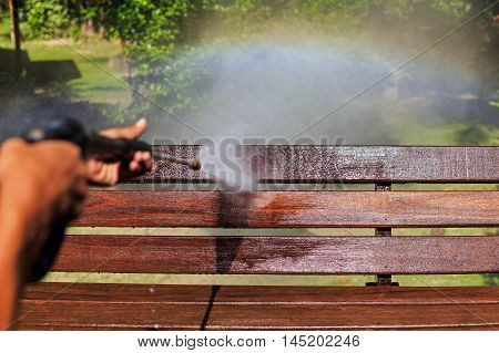 Wooden Cleaning With High Pressure Water Jet