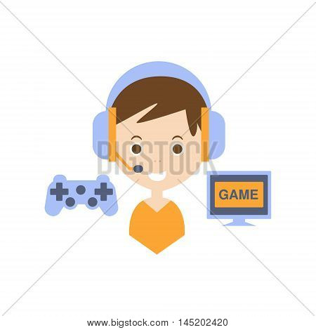 Video Games As Personal Happiness Idea. Kid With Handsfree And Gaming Equipment Simple Flat Cartoon Vector Illustration On White Background