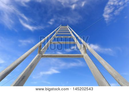 Close Up High Steel Ladder On Clear Blue Sky