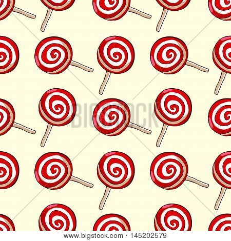 Sweet red lollipops over beige background vector seamless pattern