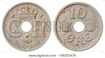 10 Ore 1925 Coin Isolated On White Background, Denmark