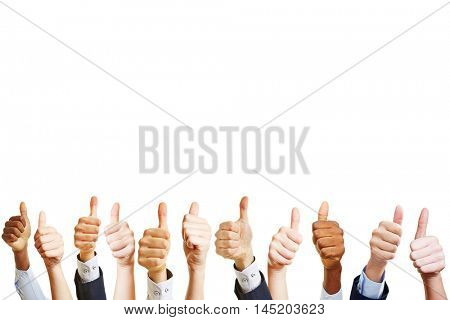 A lot of business hands holding thumbs up as teamwork concept