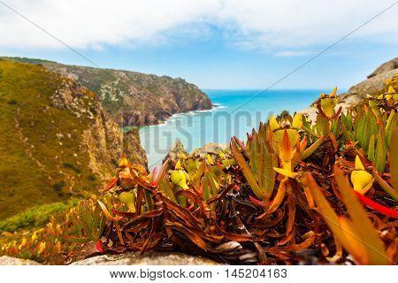 Beautiful view of the Cape Roca, Sintra, Portugal. Cabo da Roca.