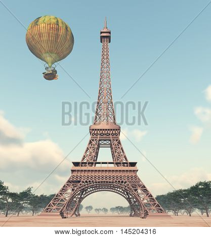 Computer generated 3D illustration with the Eiffel Tower in Paris and a fantasy hot air balloon