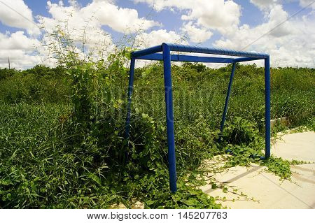 The Steel Structure Goal Football Grass Covered