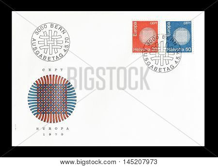 SWITZERLAND - CIRCA 1970 : Cancelled First Day Cover letter printed by Switzerland, that shows Europa CEPT stamps.