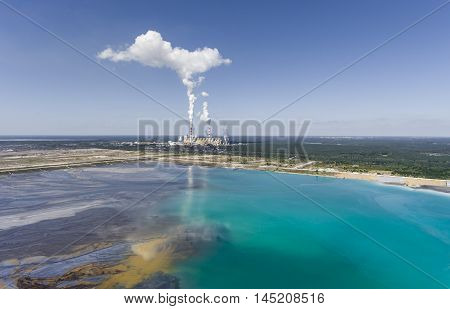 Surface Coal Mining And Power Station In Poland. Destroyed Land. View From Above. Surrealistic Lands
