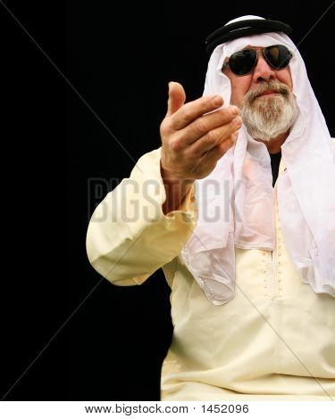 Middle East Man Preaching With One Hand
