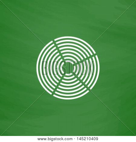 Crop Circle. Flat Icon. Imitation draw with white chalk on green chalkboard. Flat Pictogram and School board background. Vector illustration symbol