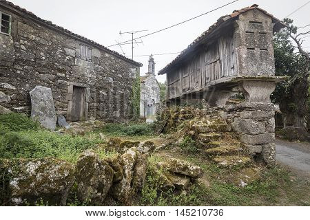 raised granary (Horreo) in an ancient village of Galicia - Spain