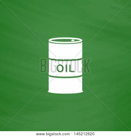 Barrels of oil. Flat Icon. Imitation draw with white chalk on green chalkboard. Flat Pictogram and School board background. Vector illustration symbol