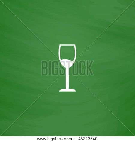 Simple Wine glass - Alcohol drink. Flat Icon. Imitation draw with white chalk on green chalkboard. Flat Pictogram and School board background. Vector illustration symbol