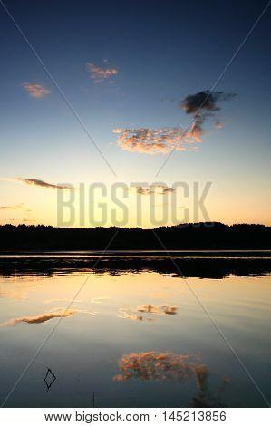 A beautiful sunset on Kama River, Russian Federation