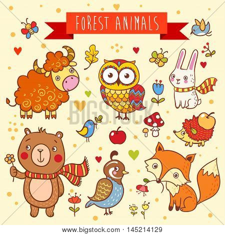Vector set of wild animals in the forest bear, fox, hedgehog, rabbit, owl, bird yak quail