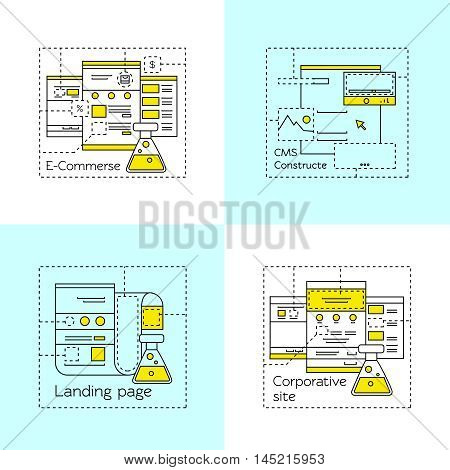 Web design in linear style icon set with descriptions of ecommerce cms constructe landing page corporative site vector illustration