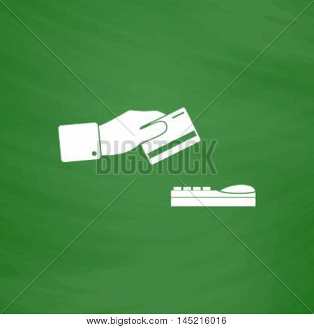 Hand swiping a credit card. Flat Icon. Imitation draw with white chalk on green chalkboard. Flat Pictogram and School board background. Vector illustration symbol