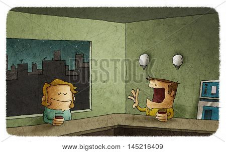 Illustration of man talking to silent woman sitting at bar counter with drink at night