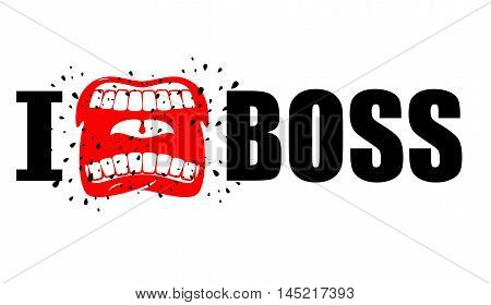I Hate Boss. Shout Symbol Of Hatred And Antipathy. Open Mouth. Flying Saliva. Yells And Shrill Screa