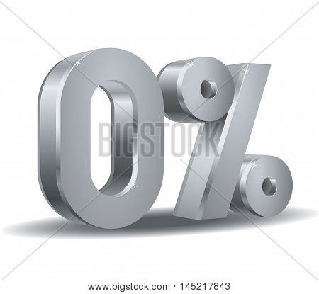 Vector of zero percent in white background