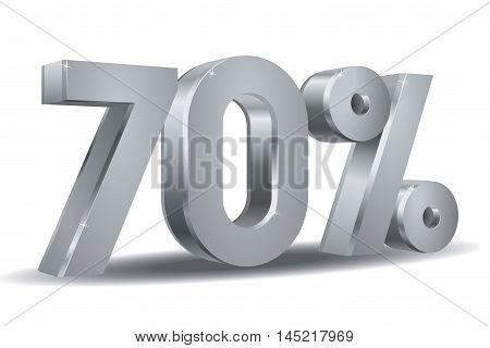 Vector of 70 percent in white background