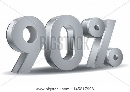Vector of 90 percent in white background