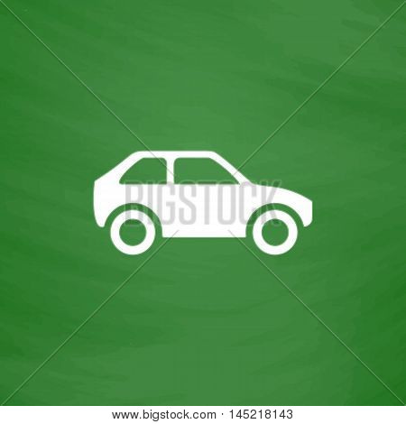 Hatchback Car. Flat Icon. Imitation draw with white chalk on green chalkboard. Flat Pictogram and School board background. Vector illustration symbol