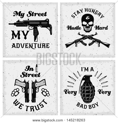 Gangster monochrome quotes with bandit sayings skull and weapon on textural background isolated vector illustration