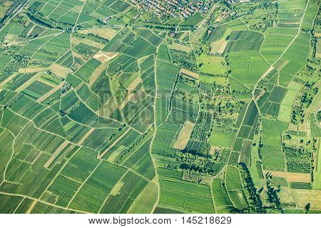 Scenic View To Fields In The Rural Area In Rhineland Palatinate