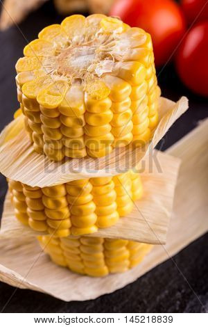 Stack Of Corn Portions On Slate Stone