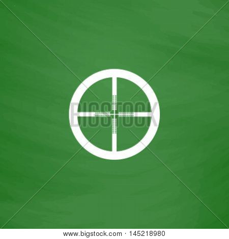Crosshair. Flat Icon. Imitation draw with white chalk on green chalkboard. Flat Pictogram and School board background. Vector illustration symbol