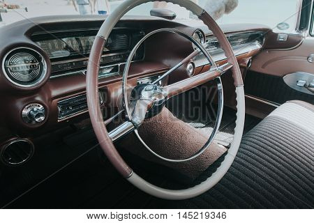 MALAGA, SPAIN - JULY 30, 2016: Interior close up of Cadillac Deville, parked in Malaga, Spain.