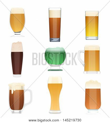 Different kind of beer collection set. Beer vector bottle icons, beer glass cups. Oktoberfest beer Holidays