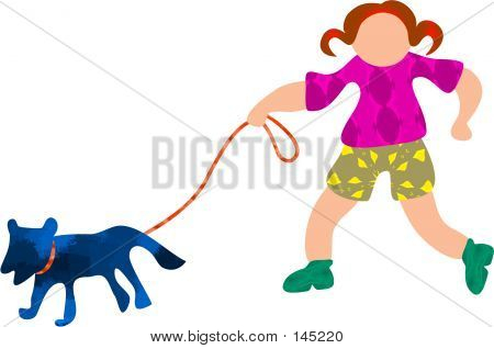 poster of little girl walking the dog