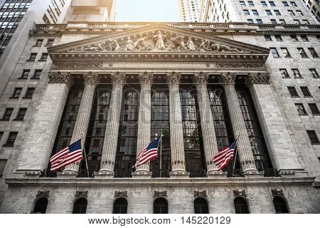 NEW YORK CITY - August 20: The New york Stock Exchange August 20 2015 in New York NY. It is the largest stock exchange in the world by market capitalization.